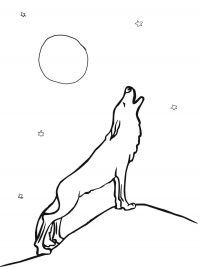 Wolf howling at moon Coloring Page