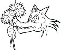 Wolf holds flowers Coloring Page