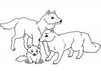 Beautiful wolves family Coloring Page