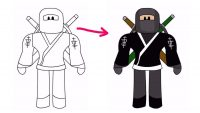 Draw Roblox Ninja with sample Coloring Page