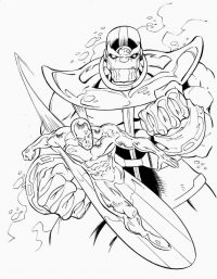 Thanos uses his full power in the Avengers Coloring Page
