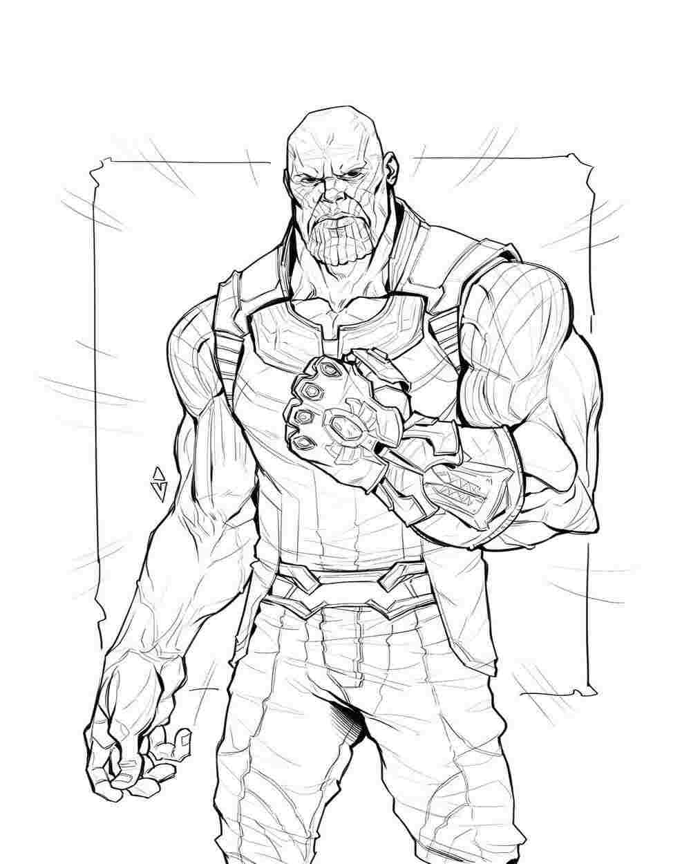 Superpower Thanos from the Avengers Infinity War Coloring Pages