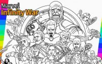 All characters in the Avengers Infinity War of Marvel Studio Coloring Page
