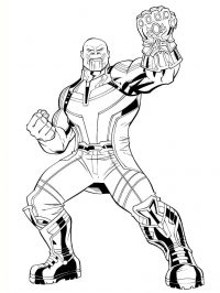 Thanos possessed the infinite strength during his battle in the Avengers movie Coloring Page