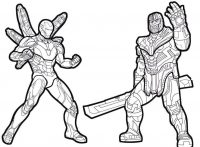 Thanos with double-edge sword fights to Iron man in Avengers movies Coloring Page