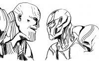 The Avengers series Thanos talks to Iron man Coloring Page