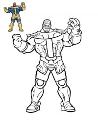 Color Thanos from the Avengers with sample Coloring Page