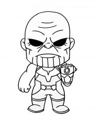 Chibi Thanos from the Avengers with black eyes Coloring Page
