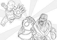 The battle between Thanos and Iron man in the Avengers Movie series Coloring Page