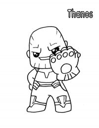 Smiling cute baby Thanos with Infinity Gauntlet from the Avengers Coloring Page