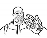 The Avengers Endgame Thanos has six Infinity stones on the Infinity Gauntlet Coloring Page