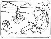 Activities on the beach at sunset Coloring Page