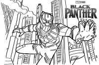 Black Panther from Marvel Studio in the city Coloring Page