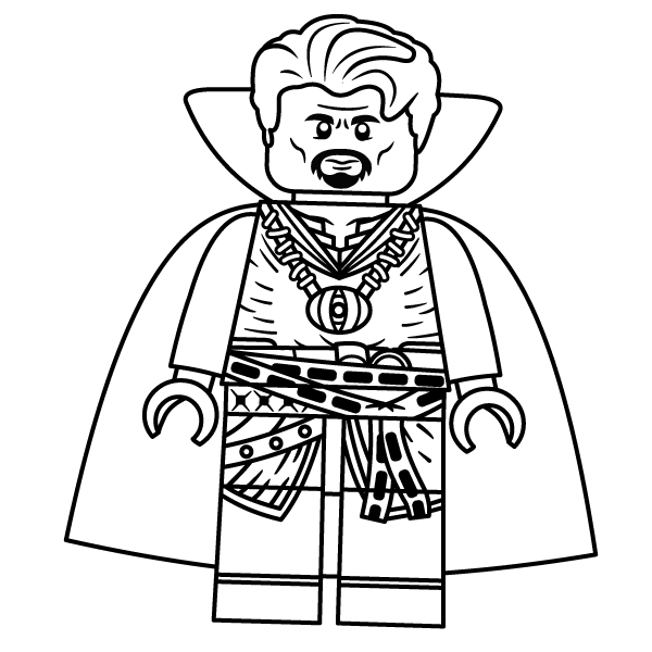 Lego Dr. Strange holds the Eyes of Agamotto Coloring Pages
