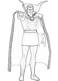 Drawing outline Doctor Strange from the Avengers Coloring Page