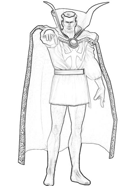 Drawing outline Doctor Strange from the Avengers Coloring Pages