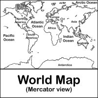 Mercator projection of the world Coloring Page