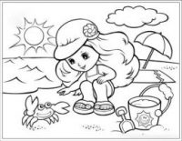 The girl plays sand in the sunset Coloring Page