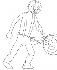 Lawrence kidnapped Bendy from Bendy and the Ink Machine Coloring Page
