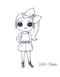Little Jojo Siwa has black and round eyes Coloring Page