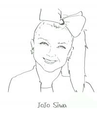 Happy Jojo Siwa wears bow tie on her hair Coloring Page