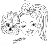 Superstar Jojo Siwa and her pet, Bow Bow Coloring Page