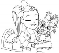 Shopping with Jojo Siwa and her dog Bow Bow for Christmas Coloring Page