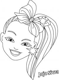 Head of Jojo Siwa with colorful hair Coloring Page
