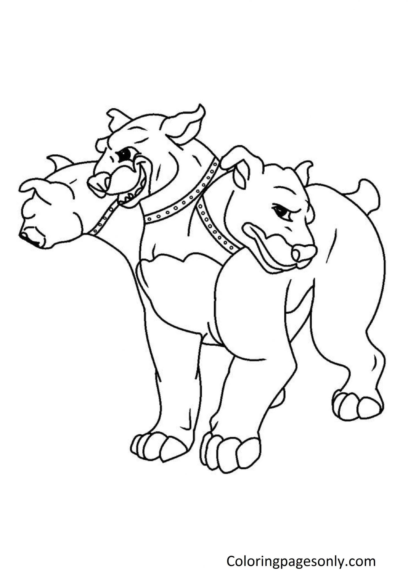 3 Headed Dog from Harry Potter Coloring Page
