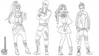 Jordan, Jay, Carlos and Evie from Descendant Coloring Page