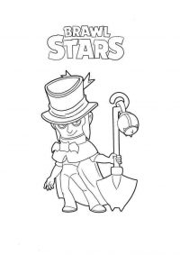 Mortis from Brawl Stars has a shovel Coloring Page