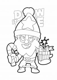 Dynamike from Brawl Stars wears Christmas hat Coloring Page