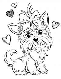 The dog Bow Bow of Jojo Siwa with hearts Coloring Page