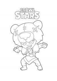 Dangerous Nita has a big bear hat from Brawl Stars Coloring Page