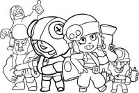 Brawl Stars characters Dynamike, Leon, Penny, El Primo and Bull Coloring Page