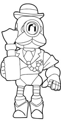 Barley holds a cup of Herbal Tonic from Brawl Stars Coloring Page