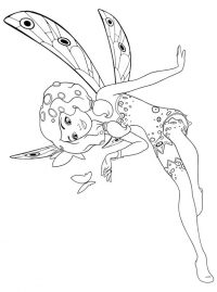 Elf Butterfly from Mia and me has a short and curly hair Coloring Page