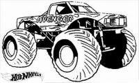 Hot Wheels Monster Truck Avenger Coloring Page