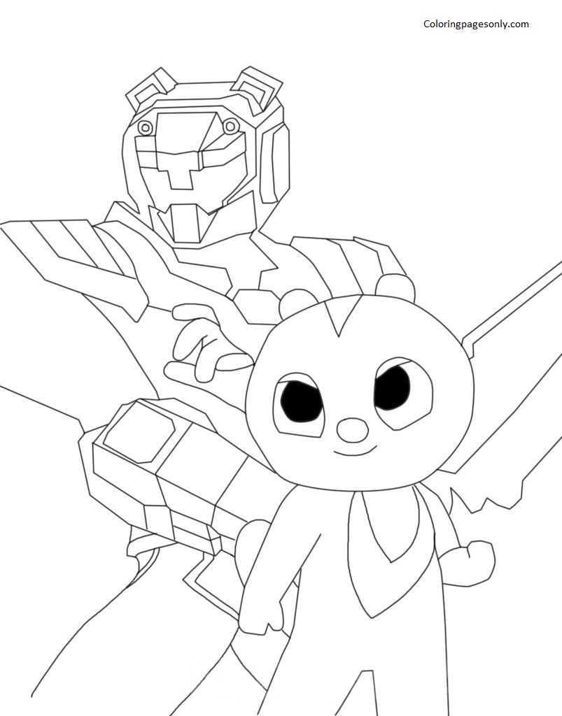 Max and the ranger Miniforce X Coloring Page