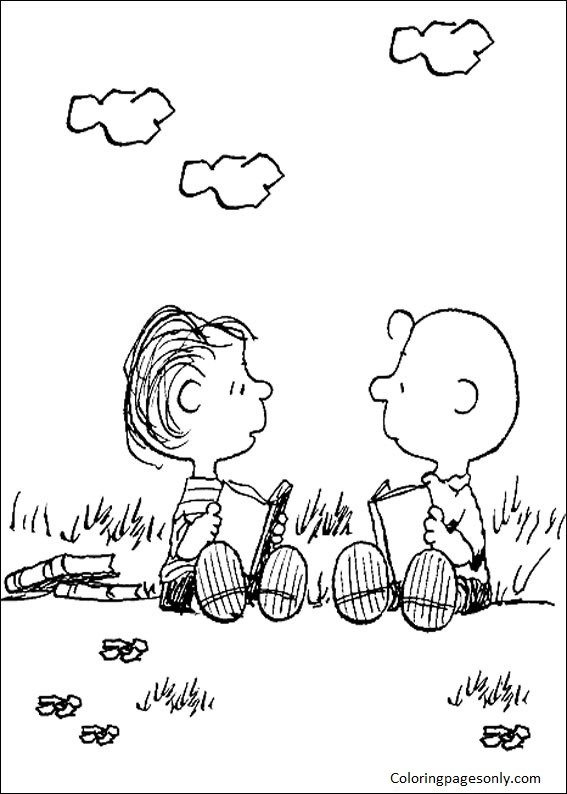 Snoopy Reading Books Coloring Page