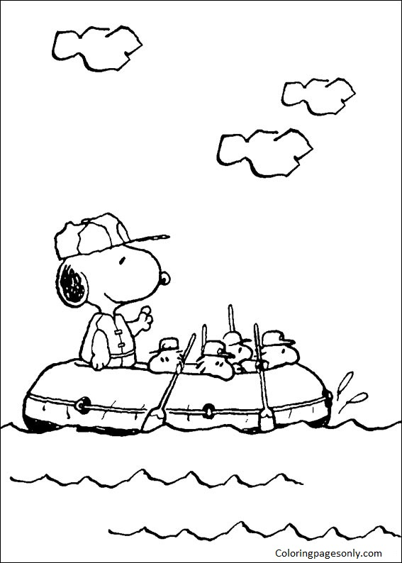 Snoopy Goes Sailing Coloring Page
