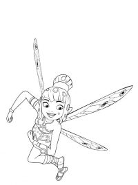 Smart and brave girl Yuko from Mia and me Coloring Page