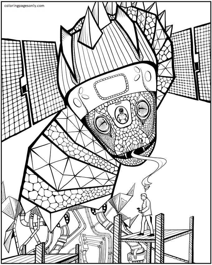 A Cyborg Dragon Coloring Page