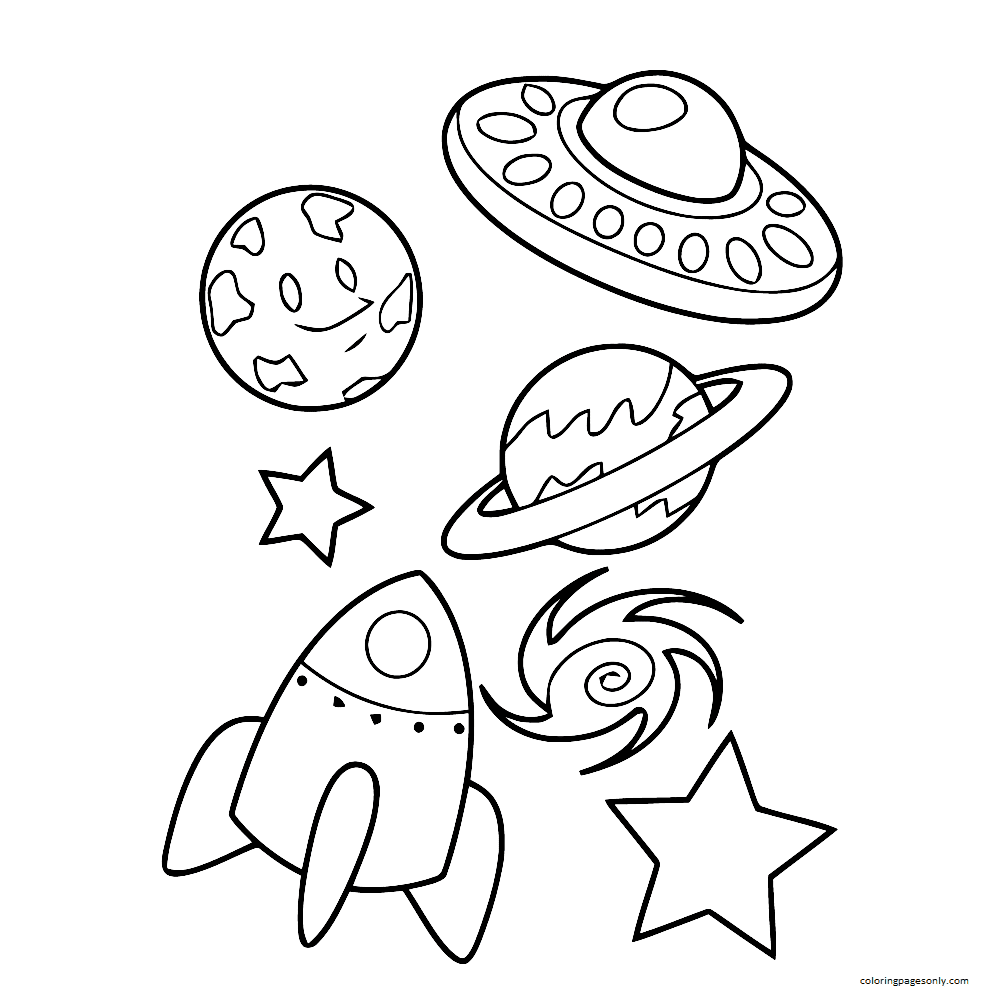 A Rocket Between The Planets Coloring Page