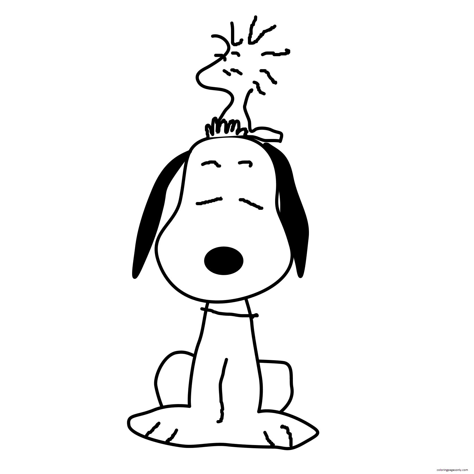 Adult Snoopy Coloring Page