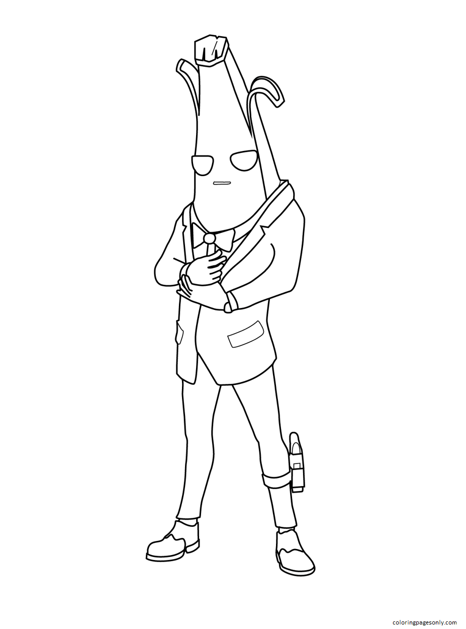 Agent Peely Fortnite Coloring Page