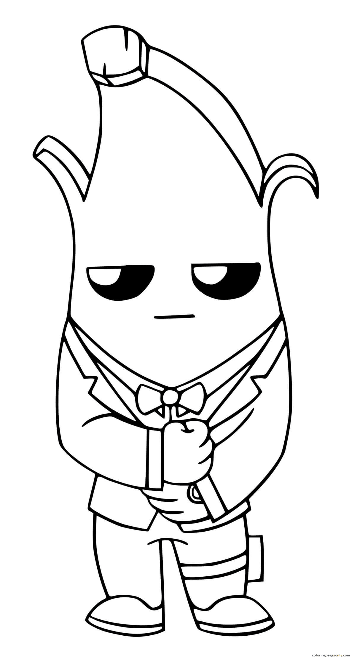 Agent Peely Ghost Fortnite Coloring Page