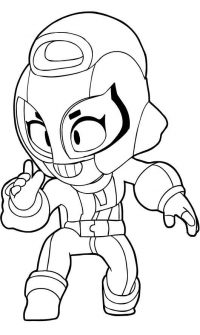 Max from Brawl Stars acts like an assassin Coloring Page