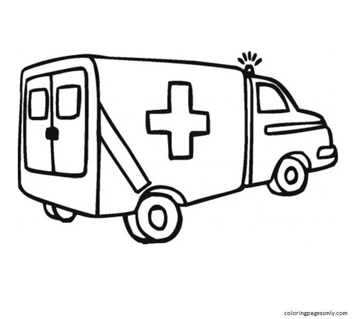 Ambulance 1 Coloring Page