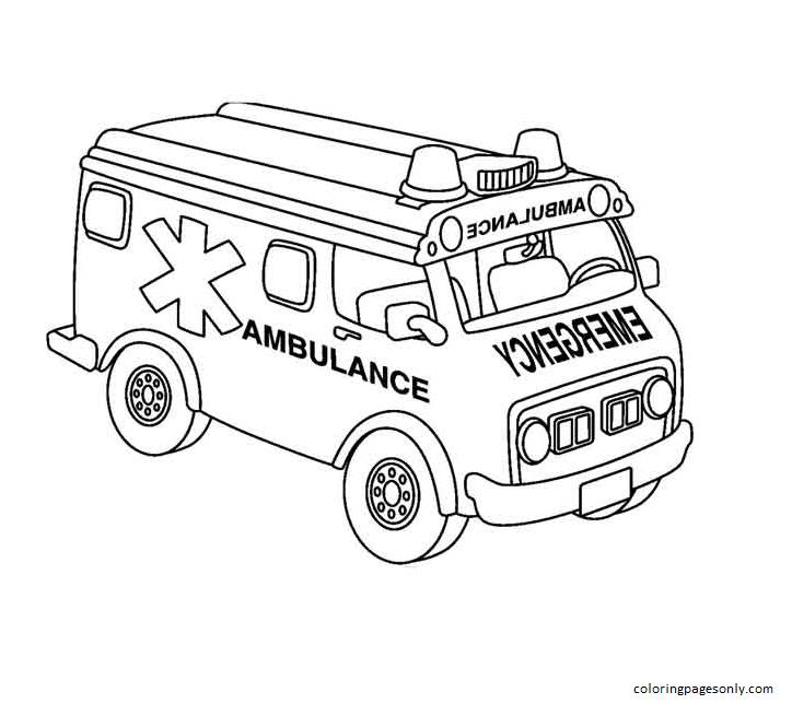 Ambulance 2 Coloring Page